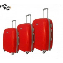 Set de 3 valises coque rigide rouge