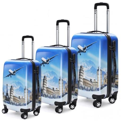 Set de 3 valises coque-rigide bleu
