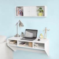 Pack table ou bureau murale et étagère de rangement