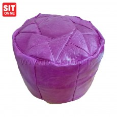 Pouf artisanal 100% cuir cylindrique.