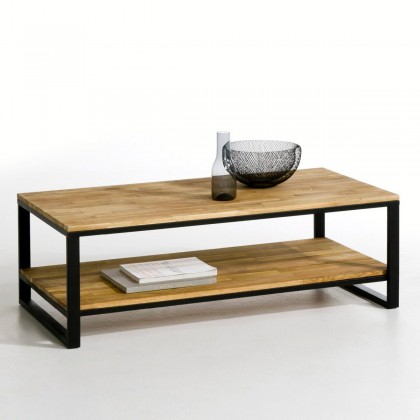 Table basse 2 tages boise rouge et acier design hiba - Table basse hiba ...
