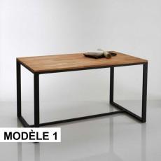 Table à manger 6 couverts HIBA ( Bois rouge/ métal)
