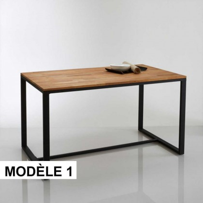 Table manger 6 couverts hiba bois rouge m tal mod le de table mod le 1 for Modele table a manger en bois