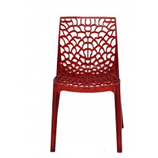 Chaise transparente rouge design Gruyere