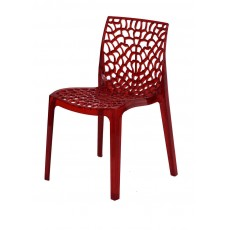 Chaise transparente rouge design Gruyere