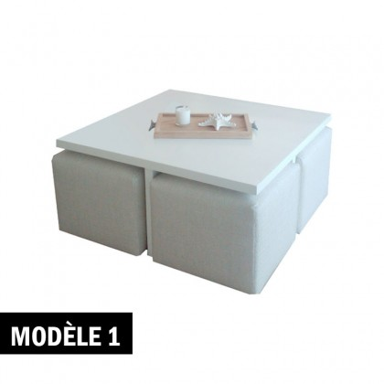 Pack table basse + 4 poufs