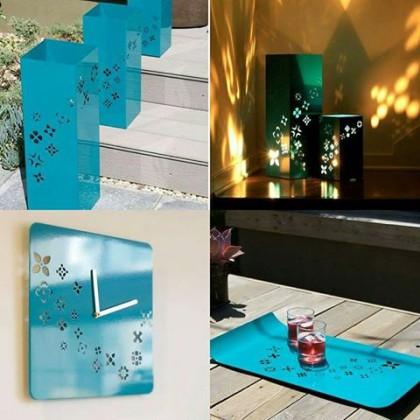 Pack déco printemps (3 lanternes + horloge murale + plateau)