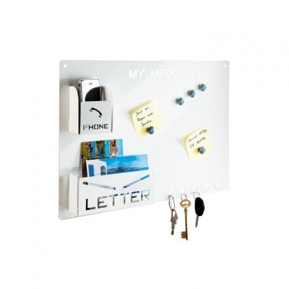 Cadre mémo magnétique, porte téléphone et range courrier