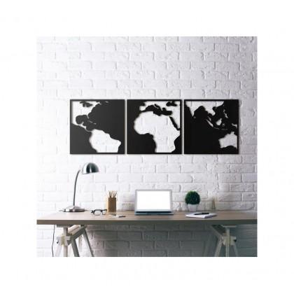 tableau d co en acier carte du monde couleur rose fuchsia. Black Bedroom Furniture Sets. Home Design Ideas