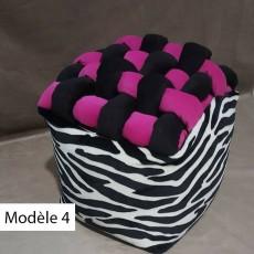 Pouf cube design tresse