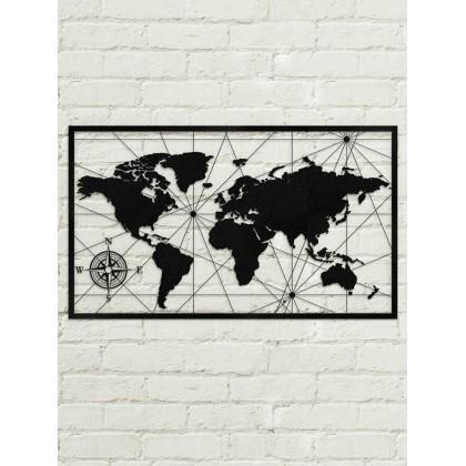 Tableau Déco En Acier Carte Du Monde Couleur Gris Dimensions Tableau 775cm 48cm