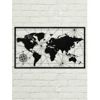Tableau déco en acier Carte du monde