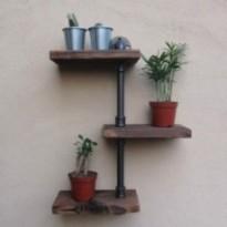3 levels wooden wall shelf