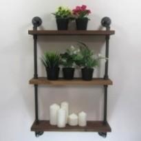 Industrial wall shelf 3 levels in wood