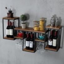 Multifunctional industrial wall shelf in wood