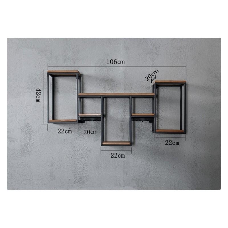 Etagère murale industrielle multi-fonction en bois - Packtoo