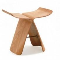 Tabouret en bois de frêne design papillon