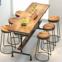 Table industriel 100% en bois et metal  avec ou sans tabouret