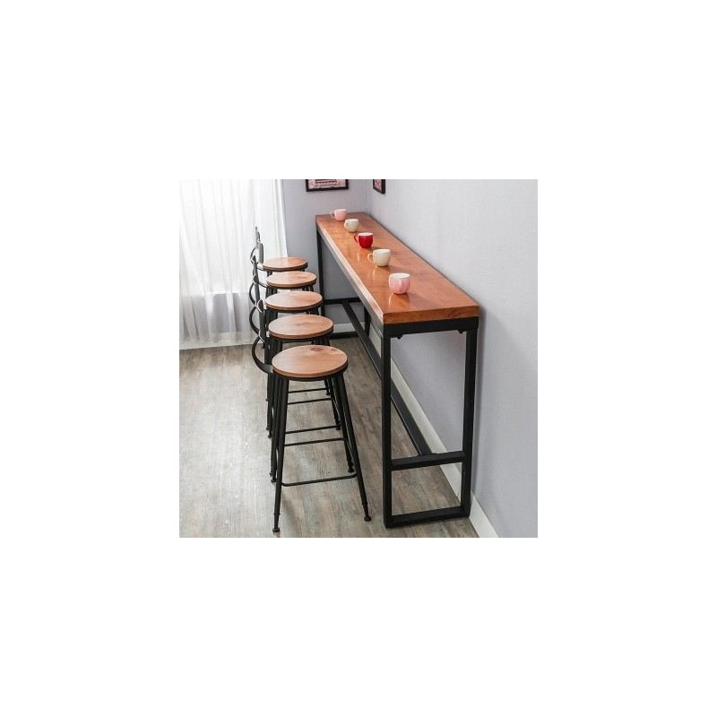 longue table de bar de mur en m tal et bois plein packtoo. Black Bedroom Furniture Sets. Home Design Ideas