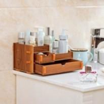 Boîte de rangement cosmétique en bois avec tiroir