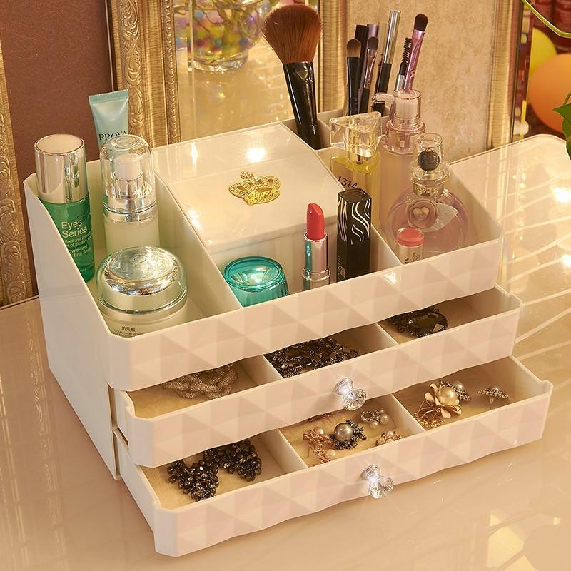 Fashion Cosmetics Storage Box 2 Drawer Dressing Dresser Desktop Jewelry Storage  Box Finishing Large