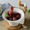 Saladier céramique irrégulière avec Support En Bambou Décorative Porcelaine