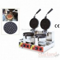 Double Heads Waffe Machine Waffle Making Machine Stainless Steel with Square Non-stick Waffle Pan Cl