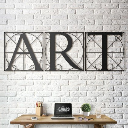 Metal wall art Da Vinci - Vitruvian Letters