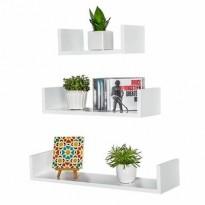 Lot de 3 étagères murales  Blanc ( design pyramide)
