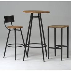 Table vinyle ronde en bois
