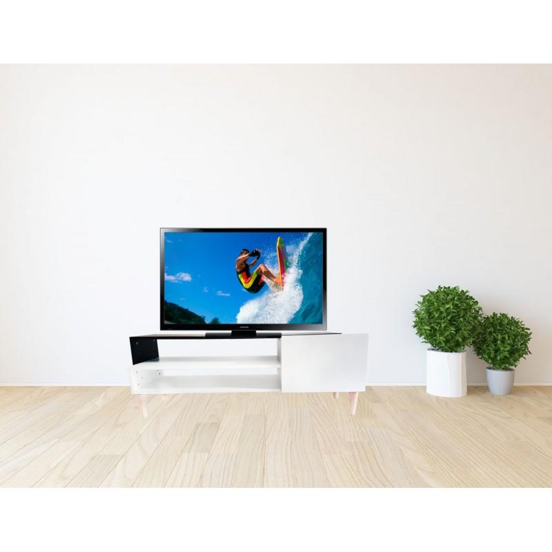 meuble tv casa avec pied en h tre couleur meuble tv noir blanc. Black Bedroom Furniture Sets. Home Design Ideas