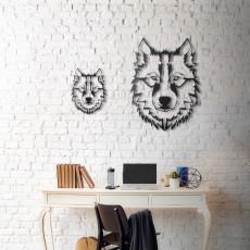 Tableau déco en acier Tête de loup