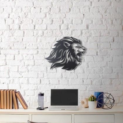 Tableau déco en acier Lion rugissant